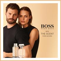 """Das strahlende """"BOSS The Scent Pure Accord""""-Duftduo erkundet eine neue Definition der Verführung, in welcher der BOSS-Mann und die BOSS-Frau in einem intimen und sinnlichen Spiel auf Augenhöhe verbunden sind."""